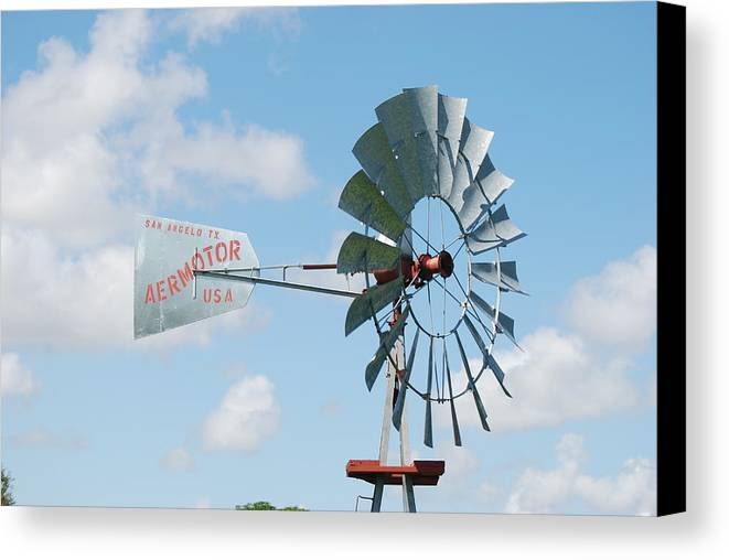 Blue Canvas Print featuring the photograph Aermotor Windmill by Rob Hans