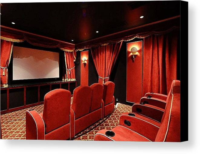 Home Theater Systems Chicago Canvas Print featuring the photograph A Classy Home Theater Set Up by Steve Smith
