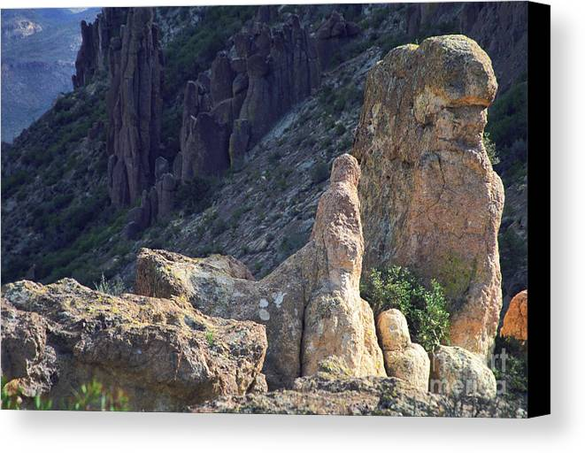 Rock Formations Canvas Print featuring the photograph A Hard Ride by Kathy McClure