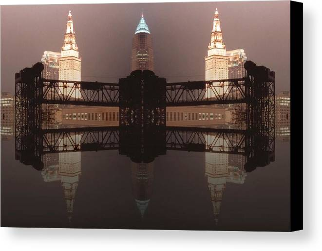 Cleveland Canvas Print featuring the photograph A Mirror Image Reflection by Kenneth Krolikowski