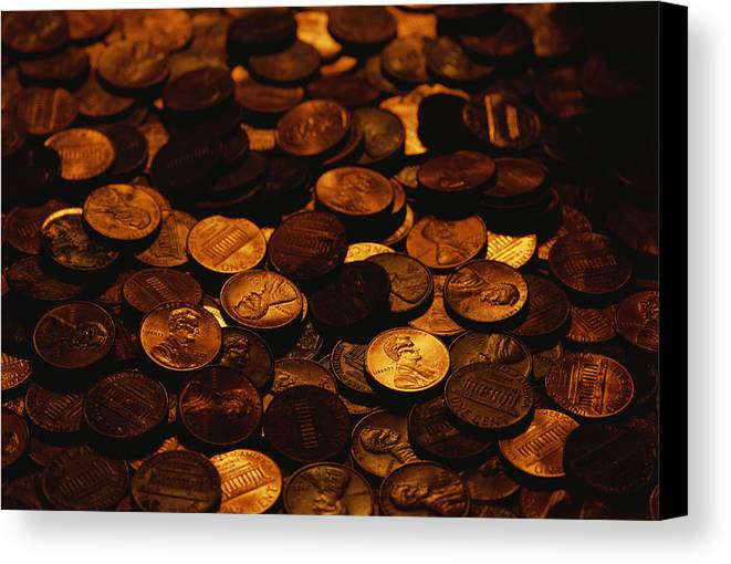 Money Canvas Print featuring the photograph A Mound Of Pennies by Joel Sartore