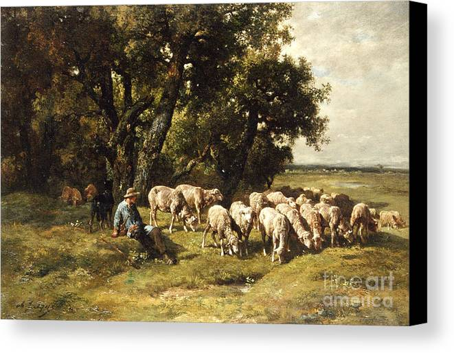 A Shepherd And His Flock Canvas Print featuring the painting A Shepherd And His Flock by Charles Emile Jacques