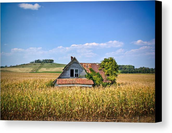 Abandoned Canvas Print featuring the photograph Abandoned Corn Field House by Douglas Barnett