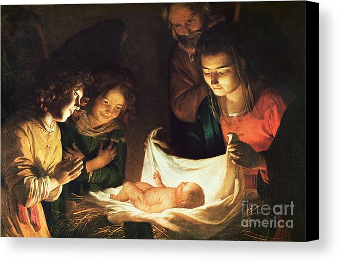 Adoration Of The Baby Canvas Print featuring the painting Adoration Of The Baby by Gerrit van Honthorst
