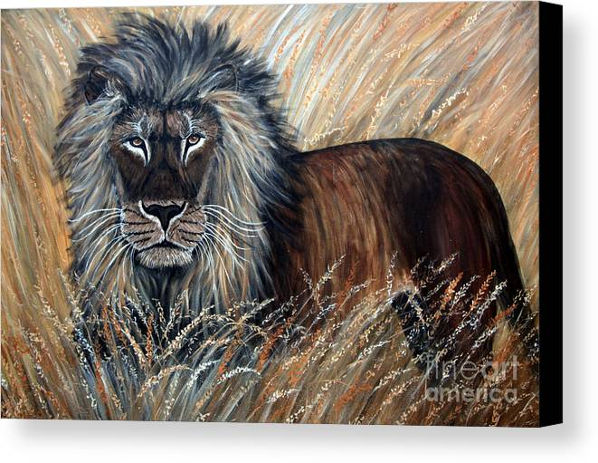 Lion Canvas Print featuring the painting African Lion 2 by Nick Gustafson
