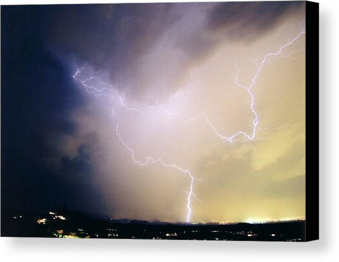 Lightning Canvas Print featuring the photograph Air Strike 1 by Cathy Franklin