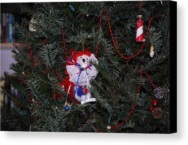Ornament Canvas Print featuring the photograph All American Bear by Mary Griffin