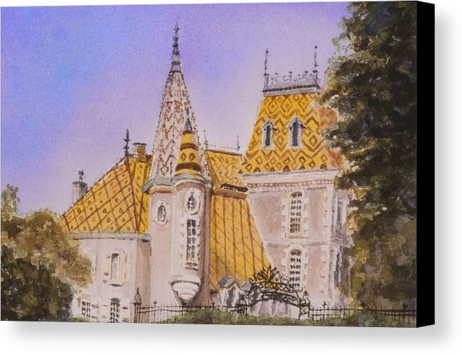 Vineyard Canvas Print featuring the painting Aloxe Corton Chateau Jaune by Mary Ellen Mueller Legault