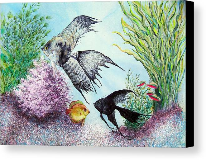 Fish Water Canvas Print featuring the print Angel Fish by JoLyn Holladay