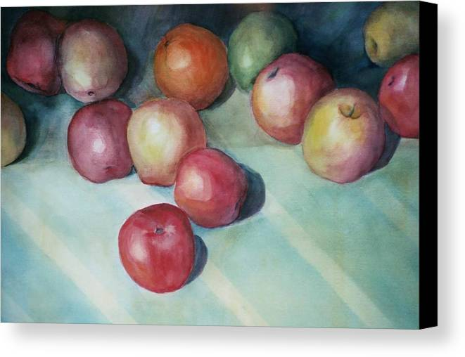 Orange Canvas Print featuring the painting Apples And Orange by Jun Jamosmos
