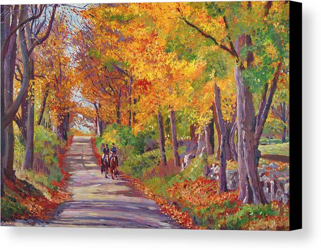 Landscape Canvas Print featuring the painting Autumn Ride by David Lloyd Glover