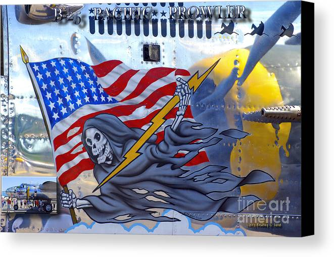 Arlington Canvas Print featuring the photograph B-25 Pacific Prowler Nose Art by Larry Keahey
