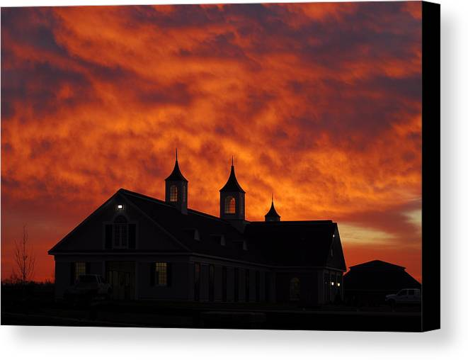 Barn Canvas Print featuring the photograph Barn Four At Sunrise by Steven Crown