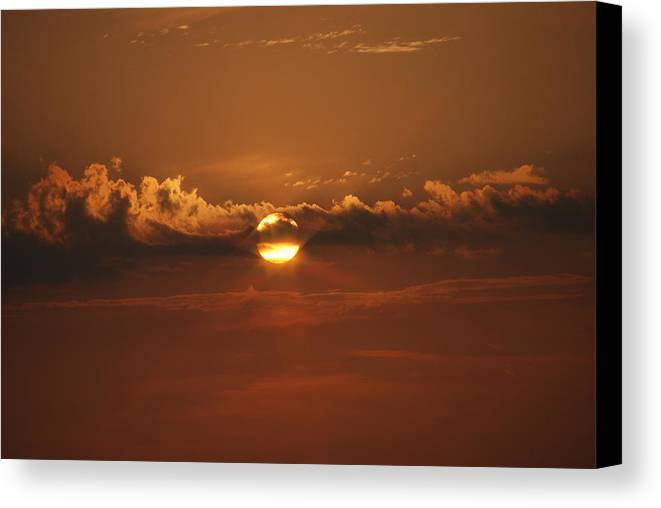Landscape Canvas Print featuring the photograph Beach Sunset 2 by Lisa Gabrius