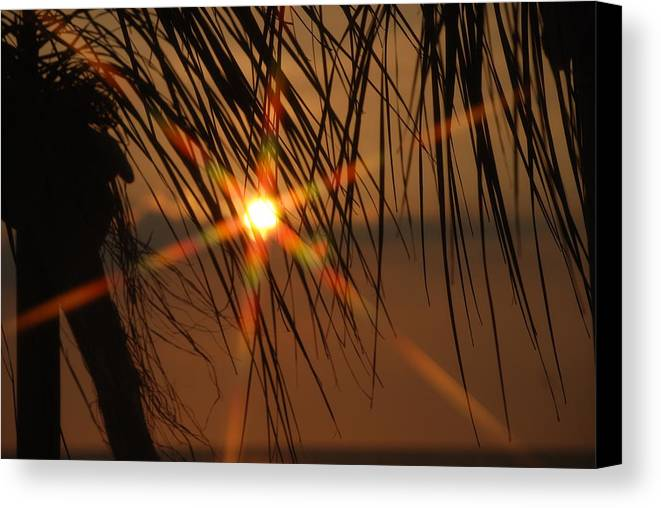 Landscape Canvas Print featuring the photograph Beach Sunset by Lisa Gabrius