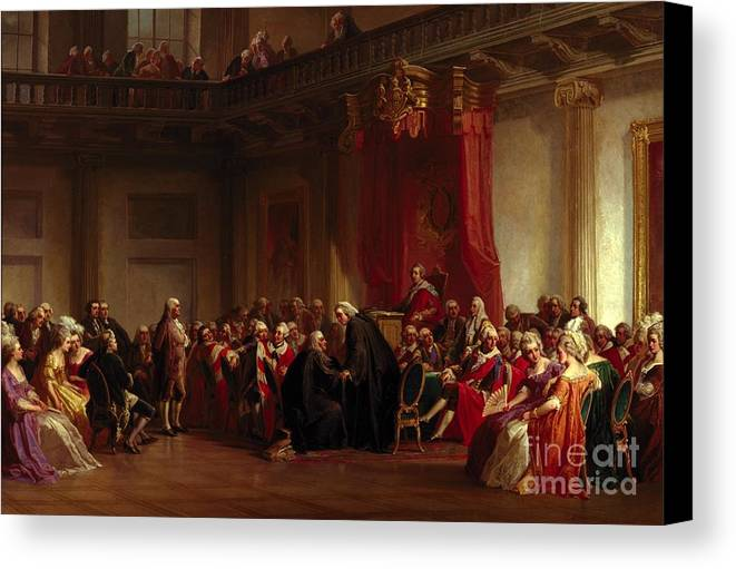 Interior Canvas Print featuring the painting Benjamin Franklin Appearing Before The Privy Council by Christian Schussele