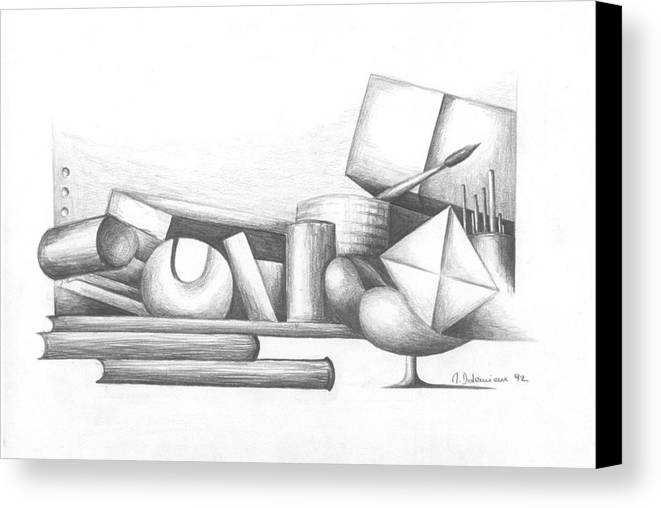 Still Life Canvas Print featuring the drawing Bibliotheque by Muriel Dolemieux