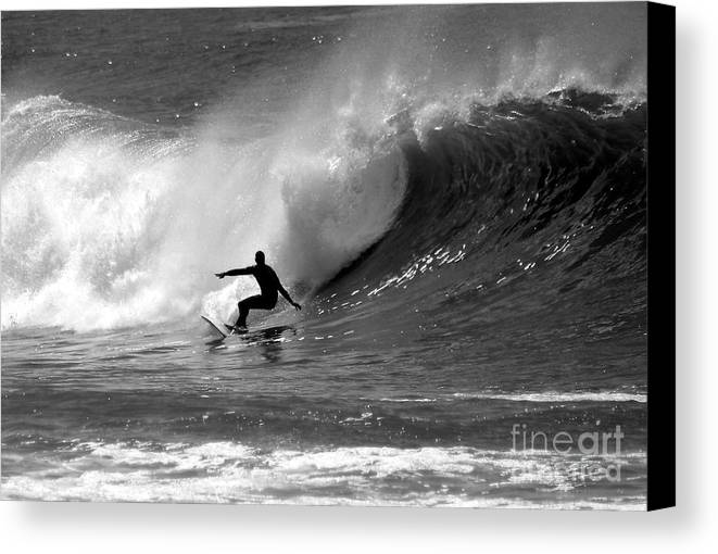 Black And White Canvas Print featuring the photograph Black And White Surfer by Paul Topp