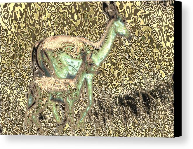Antelope Canvas Print featuring the digital art Blending In by Carl Purcell