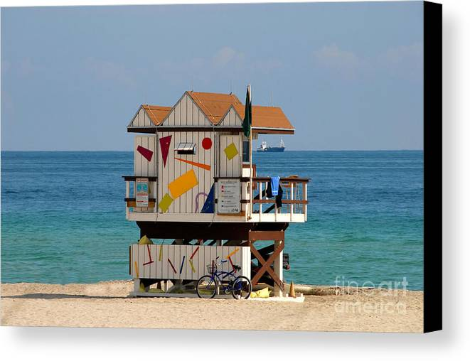 Miami Beach Canvas Print featuring the photograph Blue Bicycle by David Lee Thompson