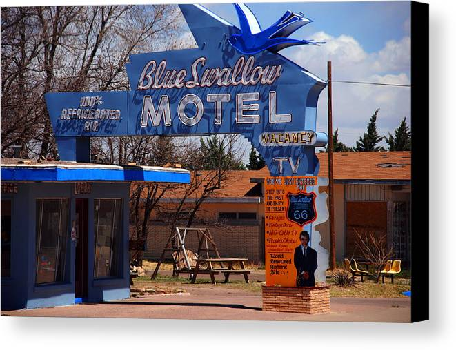 Route 66 Canvas Print featuring the photograph Blue Swallow Motel On Route 66 by Susanne Van Hulst