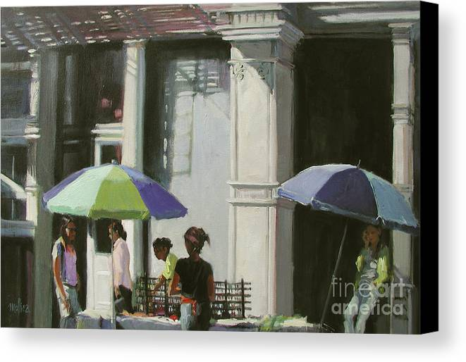 City Canvas Print featuring the painting Blue Umbrellas by Patti Mollica