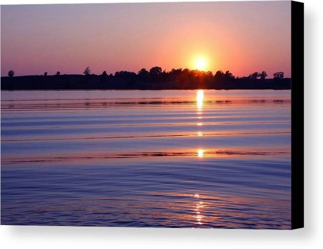 Sunset Canvas Print featuring the photograph Blue Water Sunset by Jim Darnall
