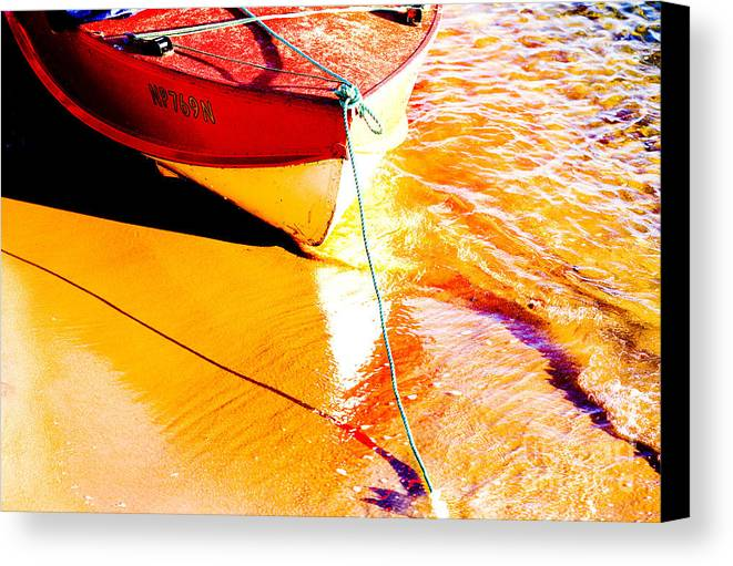 Boat Abstract Yellow Water Orange Canvas Print featuring the photograph Boat Abstract by Sheila Smart Fine Art Photography