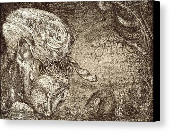 Surreal Canvas Print featuring the drawing Bogomils Mousetrap by Otto Rapp