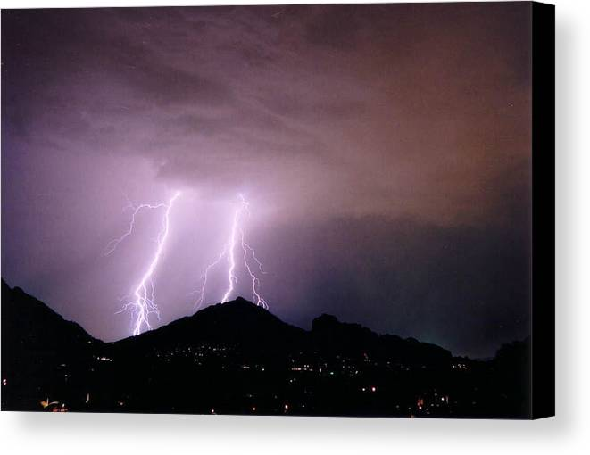 Lightning Canvas Print featuring the photograph Camelback Scratch by Cathy Franklin