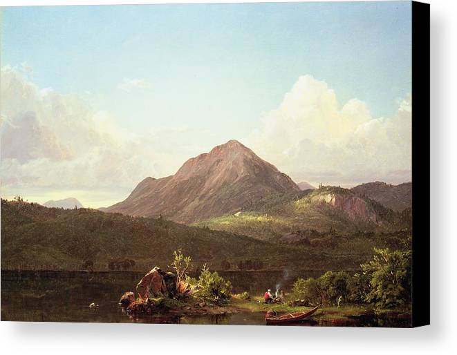 Camp Fire In The Maine Wilderness (oil On Canvas) By Frederic Edwin Church (1826-1900) Canvas Print featuring the painting Camp Fire In The Maine Wilderness by Frederic Edwin Church