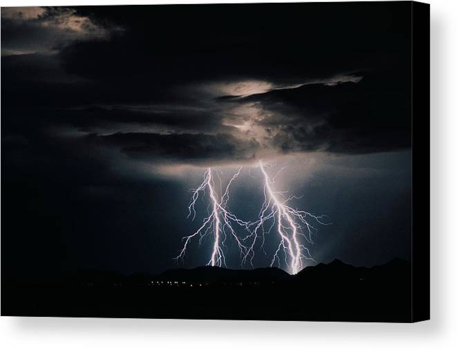 Arizona Canvas Print featuring the photograph Carefree Lightning by Cathy Franklin