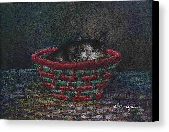 Cat Canvas Print featuring the pastel Cat In A Basket by Arline Wagner