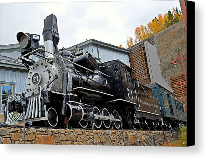 Central City Canvas Print featuring the photograph Central City Locomotive by Robert Meyers-Lussier
