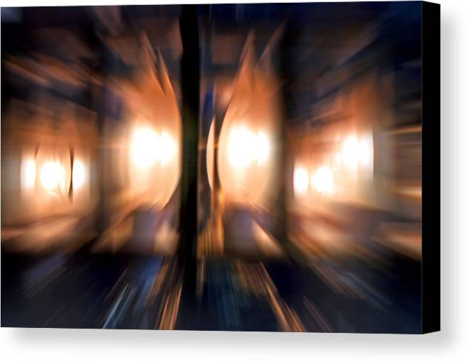 Lights Canvas Print featuring the photograph Chandelier With Zoom Effect by Steve Ohlsen