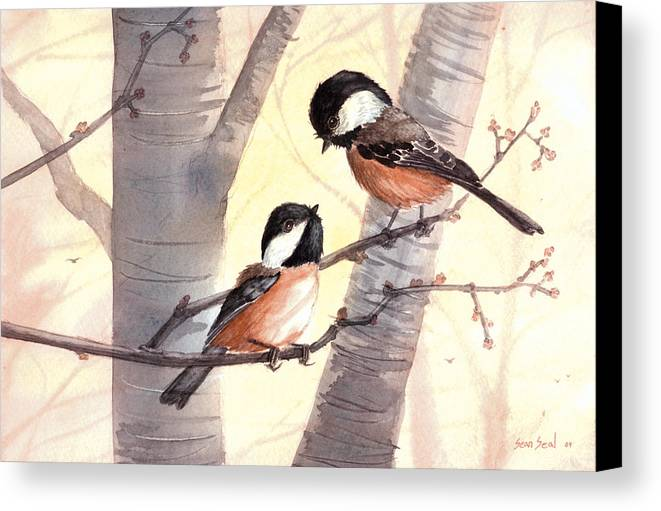 Birds Canvas Print featuring the painting Chic Chat by Sean Seal