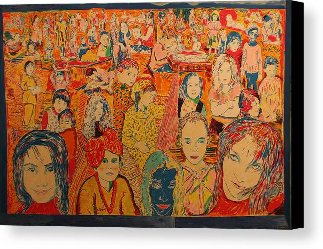 Canvas Print featuring the painting Children Of The World by Biagio Civale