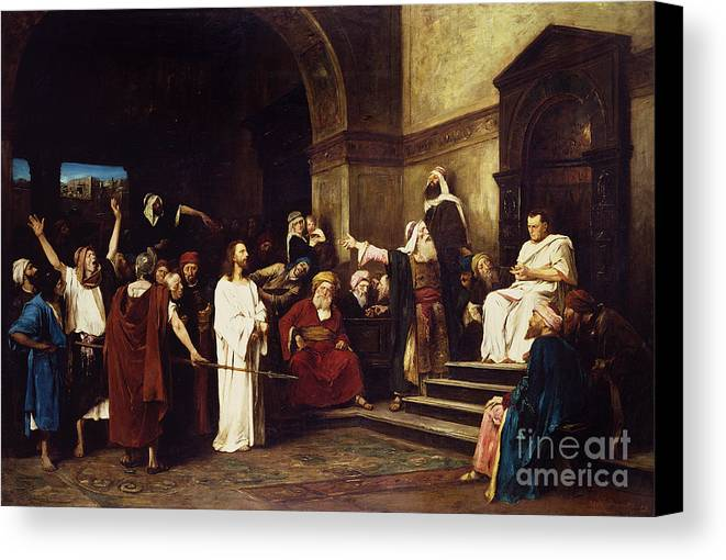 Christ Canvas Print featuring the painting Christ Before Pilate by Mihaly Munkacsy