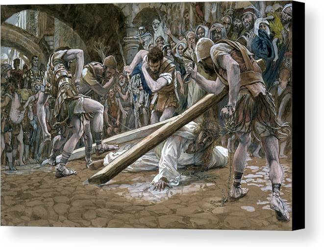 Fallen Canvas Print featuring the painting Christ Falls Beneath The Cross by Tissot
