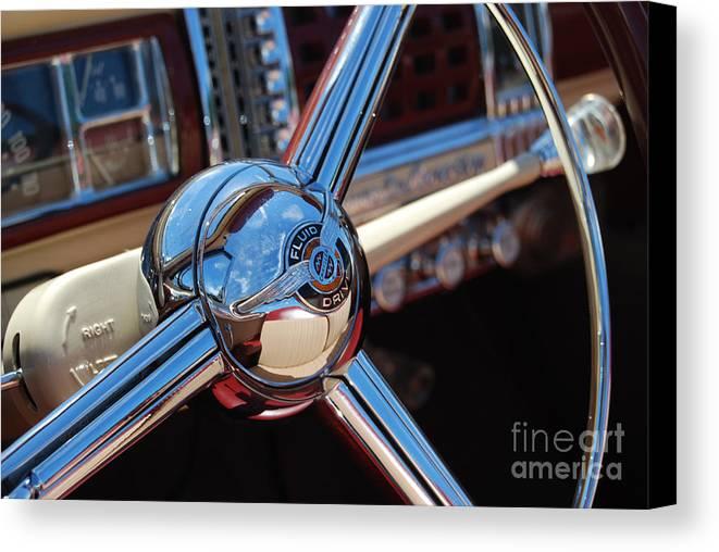 Classics Canvas Print featuring the photograph Chrysler Town And Country Steering Wheel by Larry Keahey
