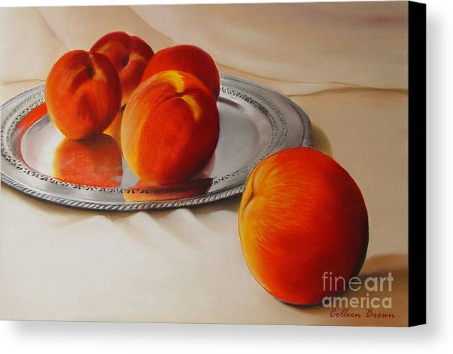 Still Life Canvas Print featuring the painting Cinque Pesche by Colleen Brown
