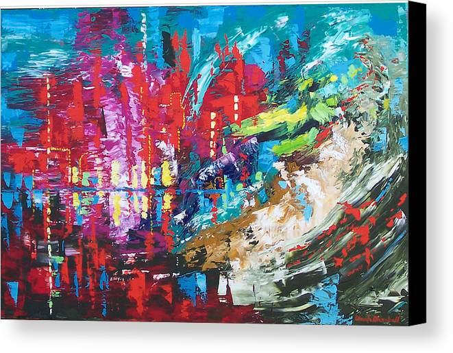 Abstract Canvas Print featuring the painting City Of Oz by Claude Marshall