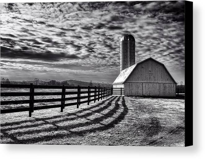 Black And White Canvas Print featuring the photograph Clouds Over The Farm by Mountain Dreams