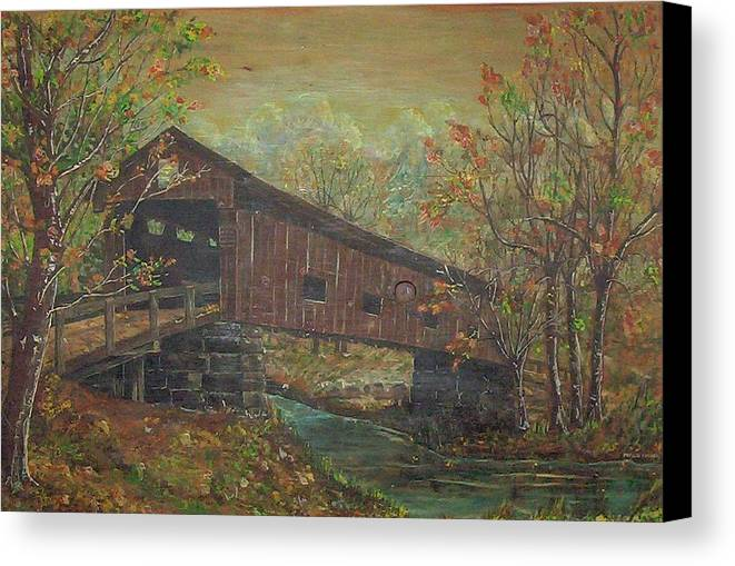 Bridge Canvas Print featuring the painting Covered Bridge by Phyllis Mae Richardson Fisher