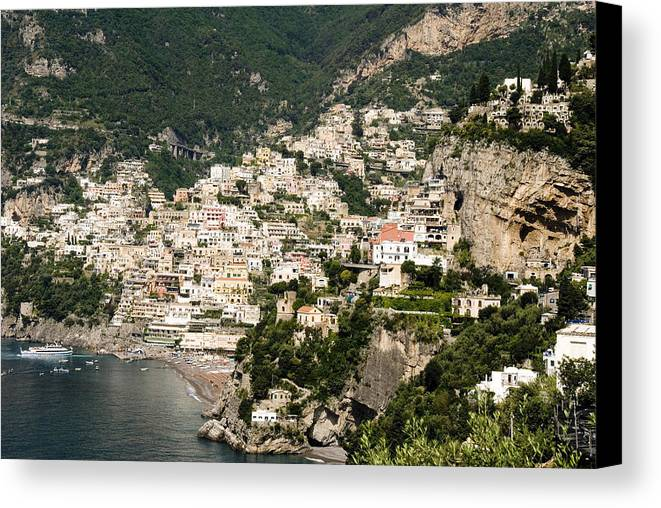 Amalfi Canvas Print featuring the photograph Crowded Slopes Of Amalfi by Charles Ridgway