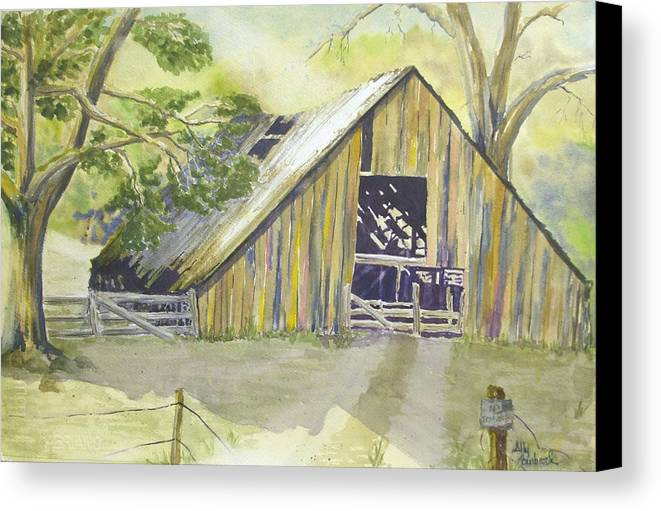 Old Barn Canvas Print featuring the painting Day Is Done by Ally Benbrook