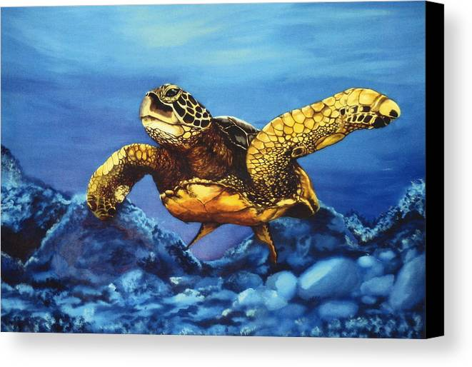 Turtle Canvas Print featuring the painting Deep Blue by Kathleen Kelly Thompson