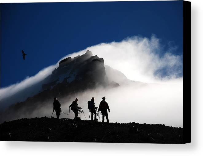 Climbers Canvas Print featuring the photograph Descent From Storm by Alasdair Turner