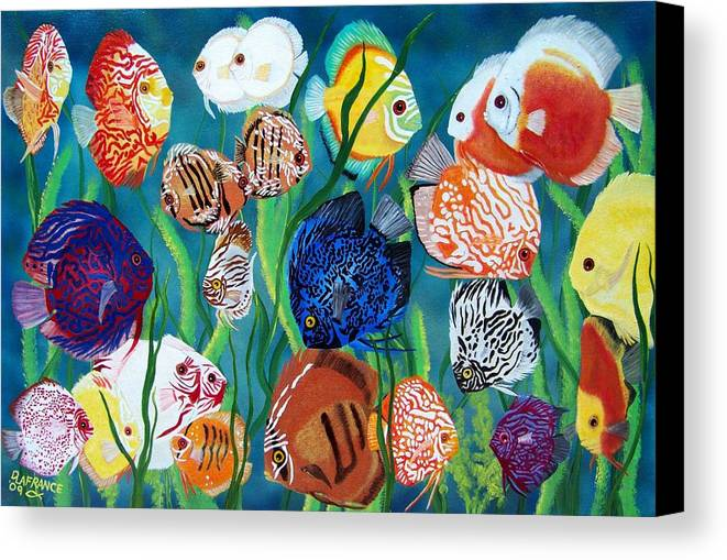 Fish Canvas Print featuring the painting Discus Fantasy by Debbie LaFrance