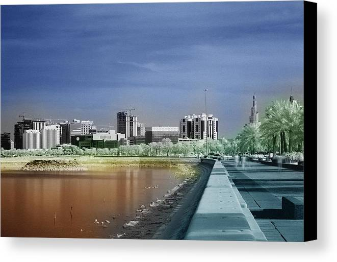Doha Canvas Print featuring the photograph Doha Corniche In Infra-red by Paul Cowan